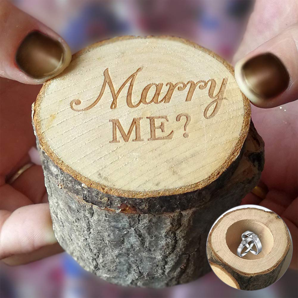 856store Exquisite Rural Wedding Marry Me Wooden Ring Holder Engagement Valentine Jewelry Box Case