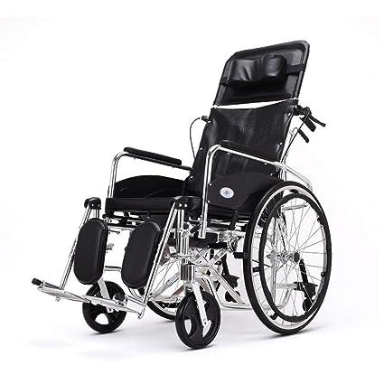 HEUFHU888 Silla de Ruedas Ajustable - Plano Silla de Ruedas con Respaldo Alto reclinable con Inodoro