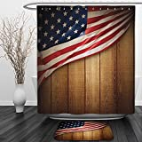 Vipsung Shower Curtain And Ground MatAmerican Flag Decor by Usa Design on Vertical Lined Retro Wooden Rustic Back Glory Country Image Blue RedShower Curtain Set with Bath Mats Rugs