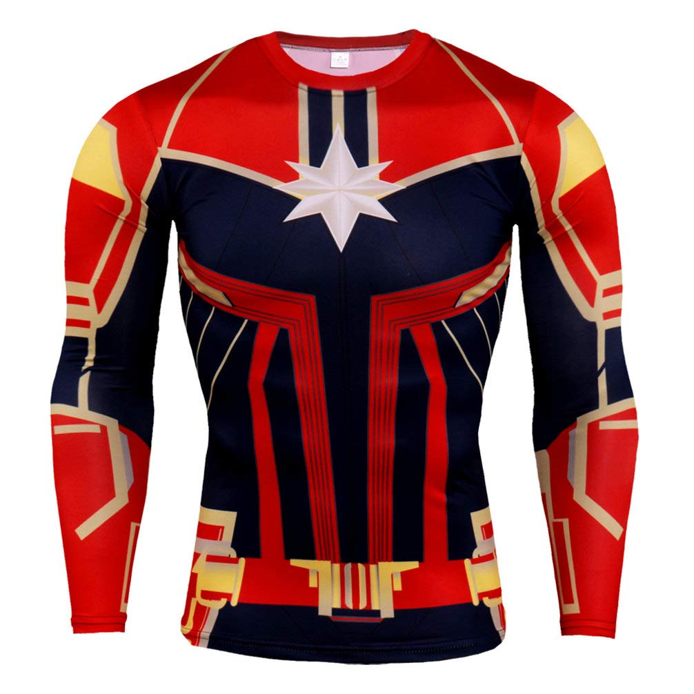 Quick Dry Captain America Long Sleeve Compression Workouts Gear Gym Shirt