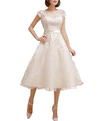 LUBridal Womens Tea Length Cap Sleeve Wedding Dress Lace Open Back Bridal  Gown US2 Ivory ecd033bcb2