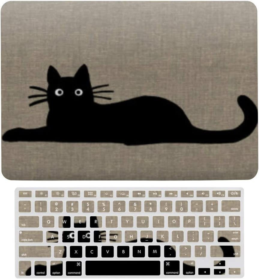 A1369 /& A1466, Older Version 2010 2017 Release Cool Black Kitty Cats Funky Felines Pet Lover Lumbar Plastic Hard Protective Laptop Case Shell With Keyboard Cover Macbook Air 13 Inch Case