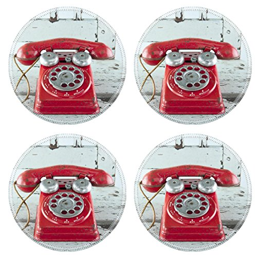 MSD Round Coasters Non-Slip Natural Rubber Desk Coasters design 25674405 Red toy telephone on blue wooden vintage chair (Chair Table Telephone With)