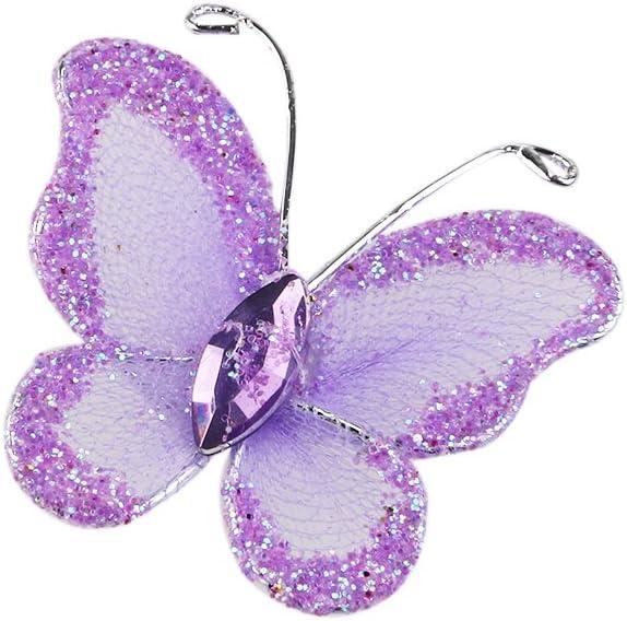 LUOEM 50 St/ück Glitter Schmetterlinge K/ünstliche Schmetterlinge Schmuck f/ür Hochzeiten Schiere Maschendraht mit Edelstein