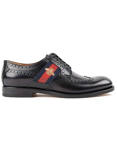 2e59c26aa1 GUCCI ITALIA - Zapatos de Cordones de Cuero para Hombre Negro Negro   Amazon.es  Zapatos y complementos