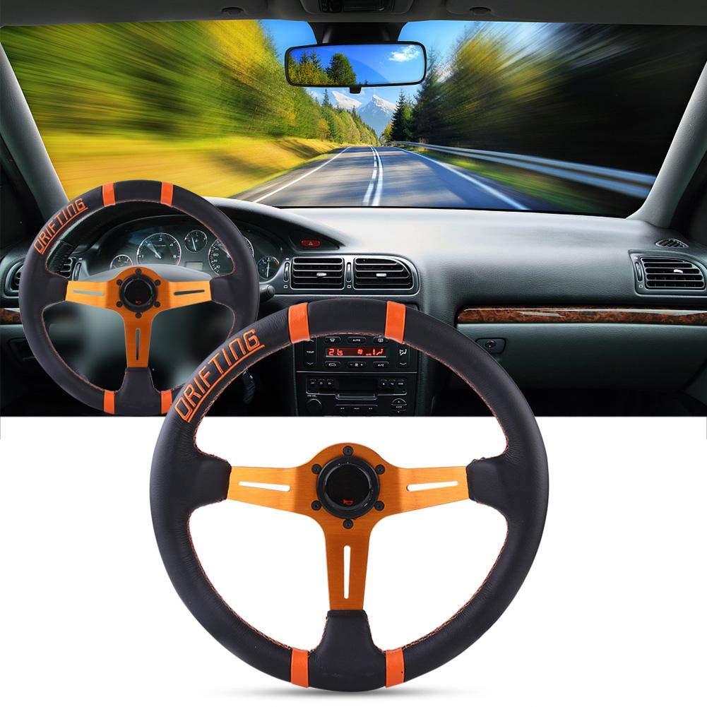 EBTOOLS 350mm Marco de volante de cuero 6 Bolt Car Racing 14in Rueda de aluminio universal naranja