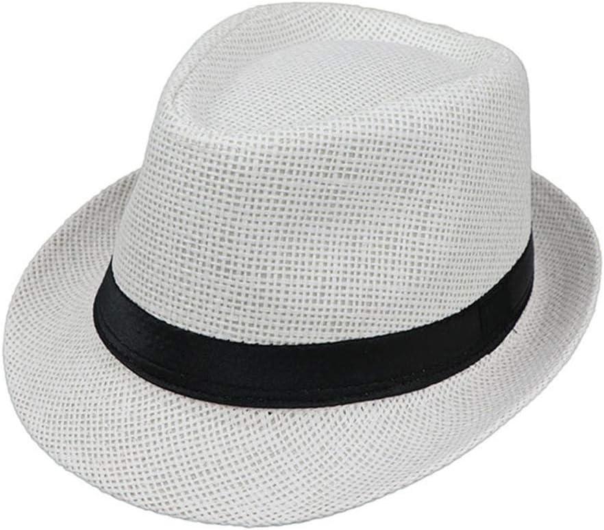smallJUN Niños Niños Verano Playa Sombrero de Paja Jazz Panamá Trilby Fedora Sombrero Gangster Cap Sombreros Transpirables al Aire Libre Niñas Niños Sombrero para el Sol 8 Colores