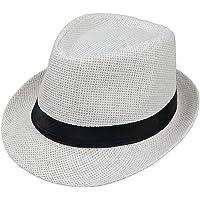 JOYKK Niños Sombrero de Paja Verano Playa Jazz Panamá Trilby Fedora Sombrero Gángster Gorra Sombreros al Aire Libre…