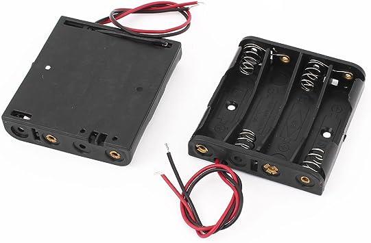sourcingmap® 2 recipiente de plástico PC caja soporte Caja de almacenamiento para 4x1,5V pila AAA: Amazon.es: Bricolaje y herramientas
