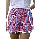 Sumen Women Hot Shorts Summer Floral Shorts Elastic Waist Yoga Workout Shorts Pineapple Print Tassels Hem Shorts (XL, Pink-1)