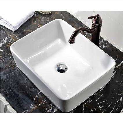 Superbe VCCUCINE Rectangle Above Counter Porcelain Ceramic Bathroom Vessel Vanity  Sink Art Basin     Amazon.com