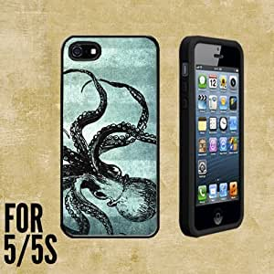 Blue Steampunk Octopus Custom made Case/Cover/skin FOR Apple iPhone 5/5S - Black - Rubber Case + FREE SCREEN PROTECTOR ( Ship From CA)