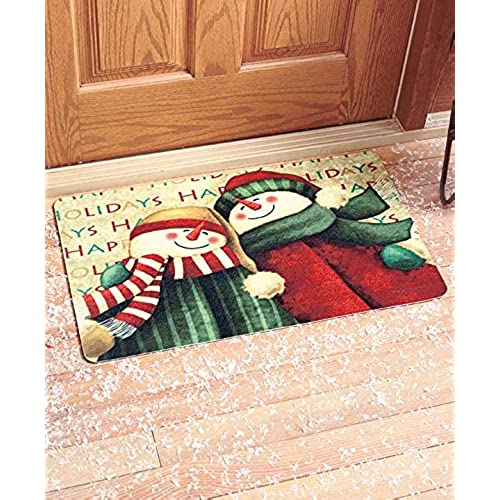 30 cute snowman friends christmas happy holiday welcome doormat whimsical accent rug decor by knl store