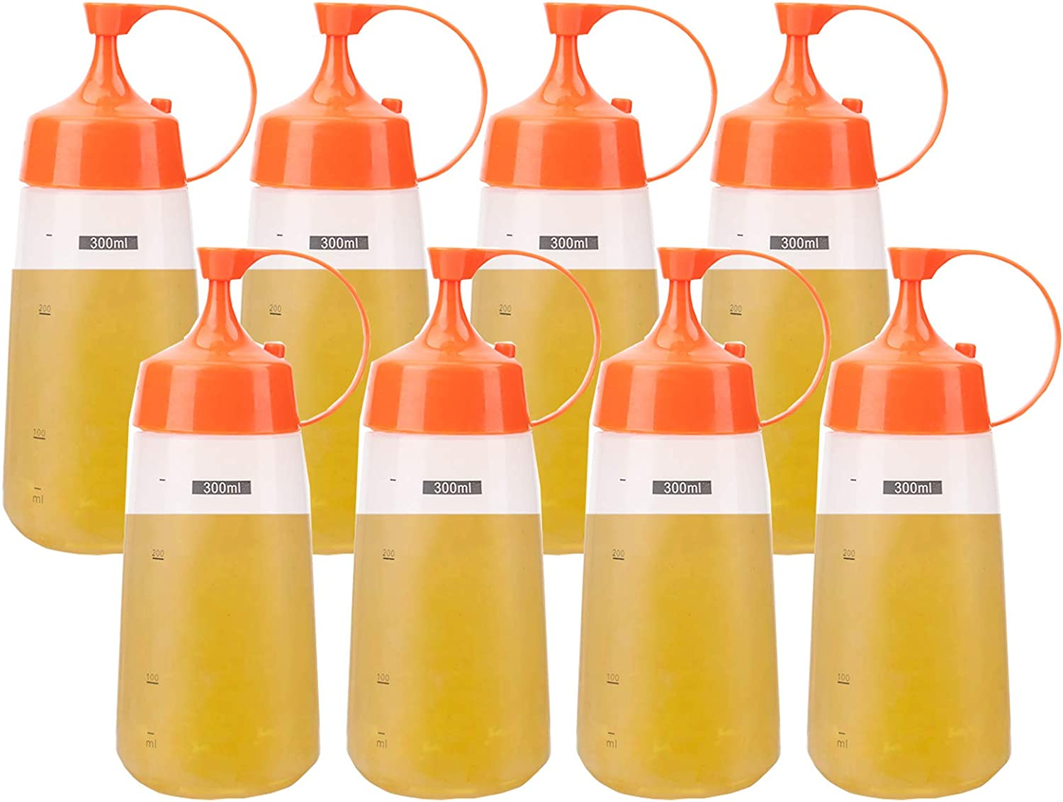 Lawei 8 Pack 10 oz Plastic Squeeze Condiment Bottles - Plastic Sauce Bottles with Cap Lids and Measurements, Squirt Bottles for Ketchup, BBQ, Sauces, Syrup, Dressings and more