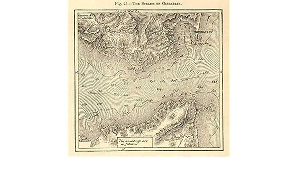 El Estrecho de Gibraltar. España. Ceuta. Mapa de Bosquejo 1886 - Mapa Antiguo Vintage - Mapas Impresos de España: Amazon.es: Hogar