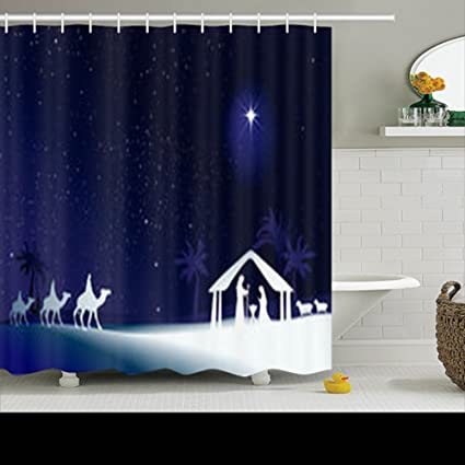 Shower Curtains Design Christmas Nativity Scene Holy Family Jesus 72x72 Inches Home Decorative Waterproof Polyester Fabric