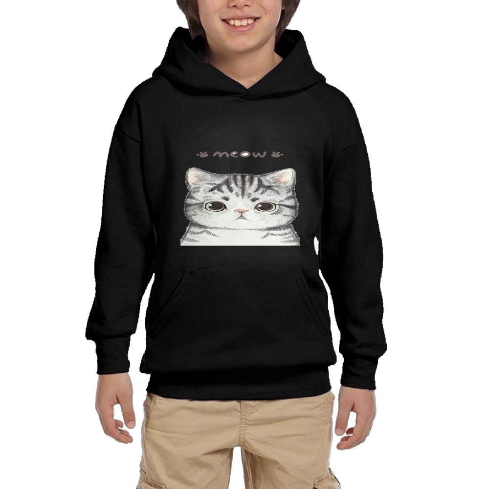 Quliuwuda Teen Cat Cartoon Funny Hiking Black Fleece