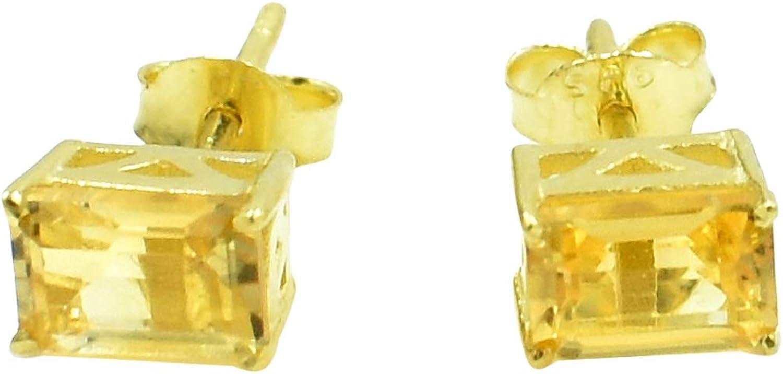 Silvesto India - Pendiente chapado en oro con piedra de corte citrino natural 925 para mujer
