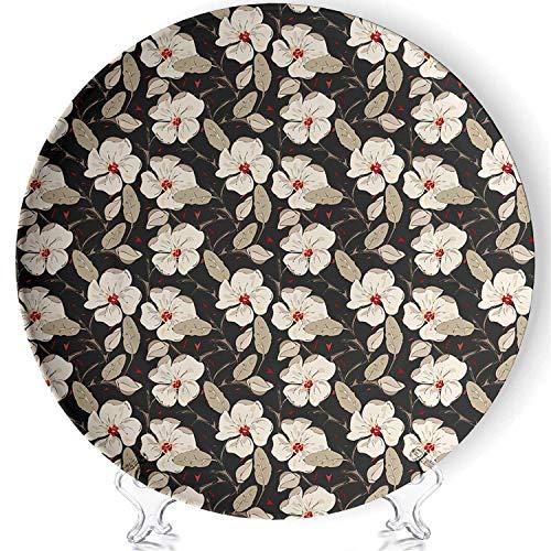 YOLIYANA Floral Porcelain Plates Ceramic Decorative Plates,Poppy Flowers Vintage with Abstract Floral Arrangement Nature Blossom Decorative,7 Inch (Poppy Vintage Plates)