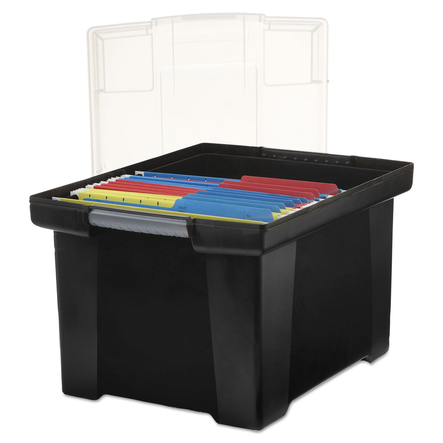 Storex 61528U01C Plastic File Tote Storage Box Letter/Legal Snap-On Lid Black