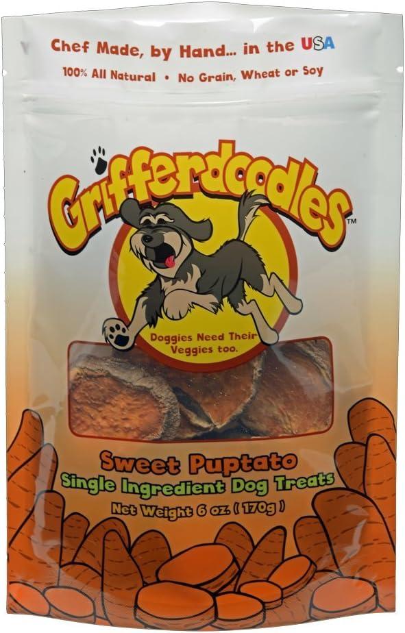 Grifferdoodles Sweet Puptato – Single Ingredient Pet Treats Vegetable, 6 Ounce