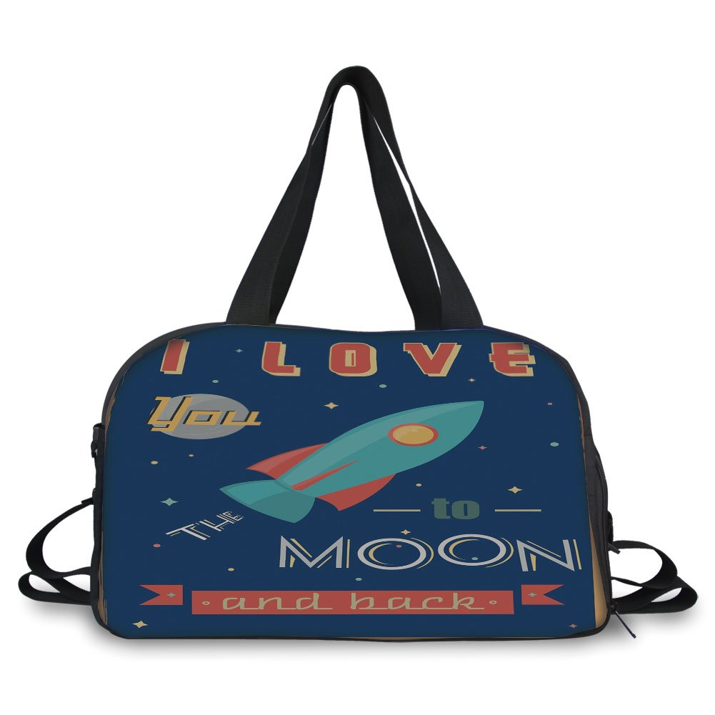 iPrint Travel handbag,I Love You,Spaceship Galaxy Stars Cosmos Love Theme Retro Inspirational Letters Decorative,Dark Blue and Coral ,Personalized