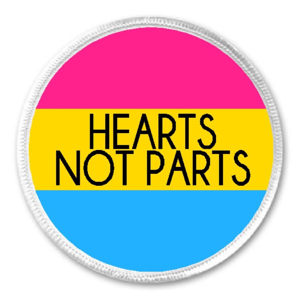 3 Sew Iron On Patch Pansexual Pride Proud Sexuality Hearts Not Parts