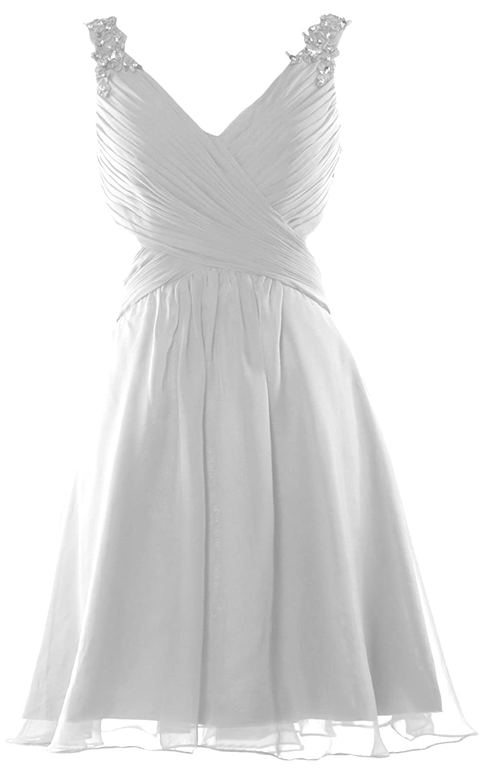 MACloth Women Strap V Neck Short Prom Homecoming Dress Wedding Party Formal Gown