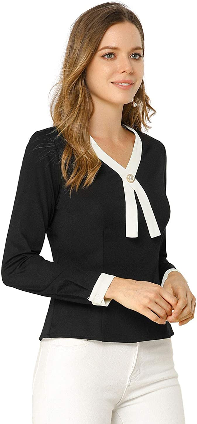 Allegra K Women's Contrast Trim V Neck Long Sleeve Casual Office Blouse Top