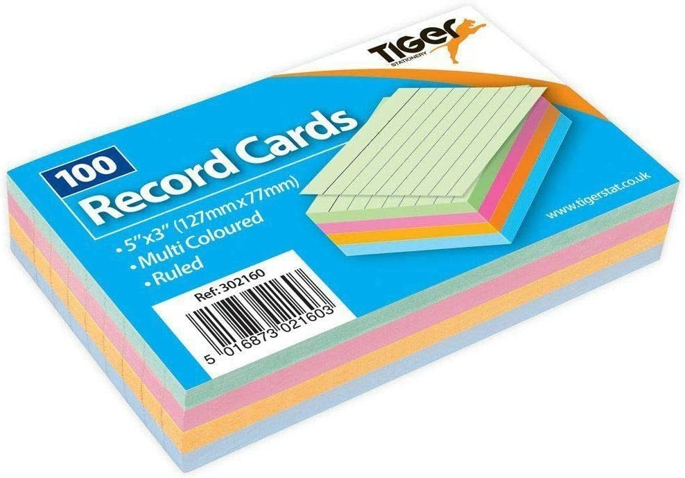 MantraRaj 100 Pack Sheet Record Flash Cards for Study,Promps /& Revisions 5x3