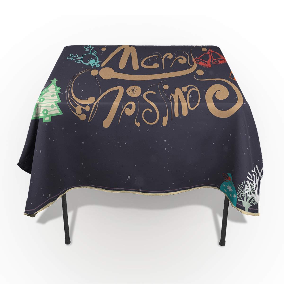 Fantasy Star 長方形ポリエステルテーブルクロス カラフルなメリークリスマスソックステーブルクロス 洗濯機洗い可能 テーブルカバー キッチン ダイニング 宴会 パーティー 53
