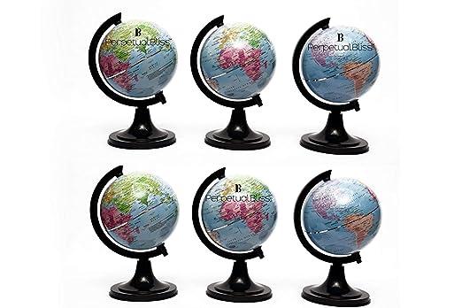 Perpetual Bliss Globe|World Globe|Political Globe|Education Globe|Home Decor/Return Gifts for Kids 12x12x16 cm (Pack of 6)