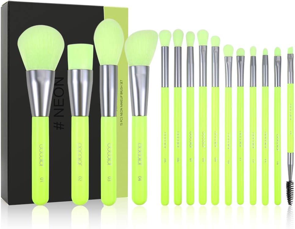 Kit de pinceles de maquillaje Docolor Neon Green 15 piezas Premium Synthetic Kabuki Foundation Blending Face Powder Correctores Kit de sombra de ojos con caja de ...