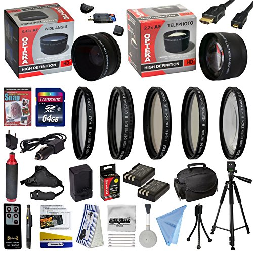 47th Street Photo Ultimate Accessory Kit for the Nikon D40, D40x, D60, D3000, D5000 - Kit Includes: 64GB High-Speed SDXC Card + Card Reader + 2 Extended Life Batteries + Travel Charger + 52MM 0.43x HD2 Wide Angle Macro Fisheye Lens + 52MM 2.2x HD2 AF Telephoto Lens + 52MM 5 Piece Pro Filter Kit (UV, CPL, FL, ND4 and 10x Macro Lens) + HDMI Cable + Padded Gadget Bag + Professional 60