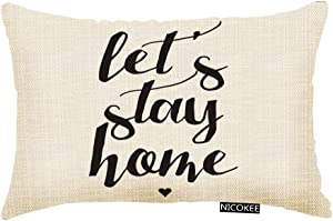 Nicokee Throw Pillow Cover Let's Stay Home Decorative Pillow Case Home Decor 20x12 Inches Pillowcase