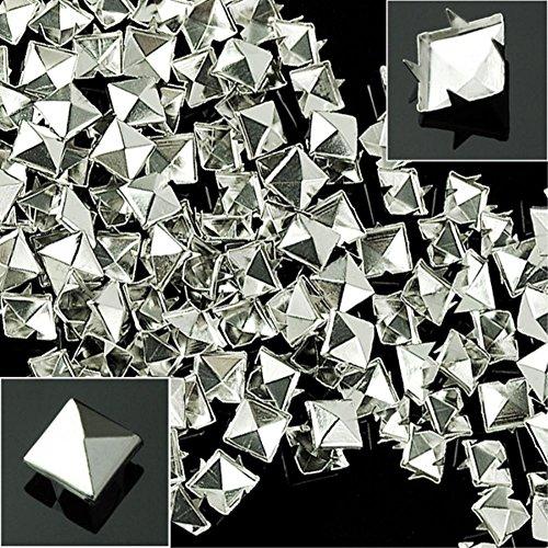 Laliva 100pcs/lot Silver 10mm Metal Sliver Color Pyramid Square Studs Spots Punk Spikes for Jean Shirt Bracelet - (Color:, Size: 10mm) ()