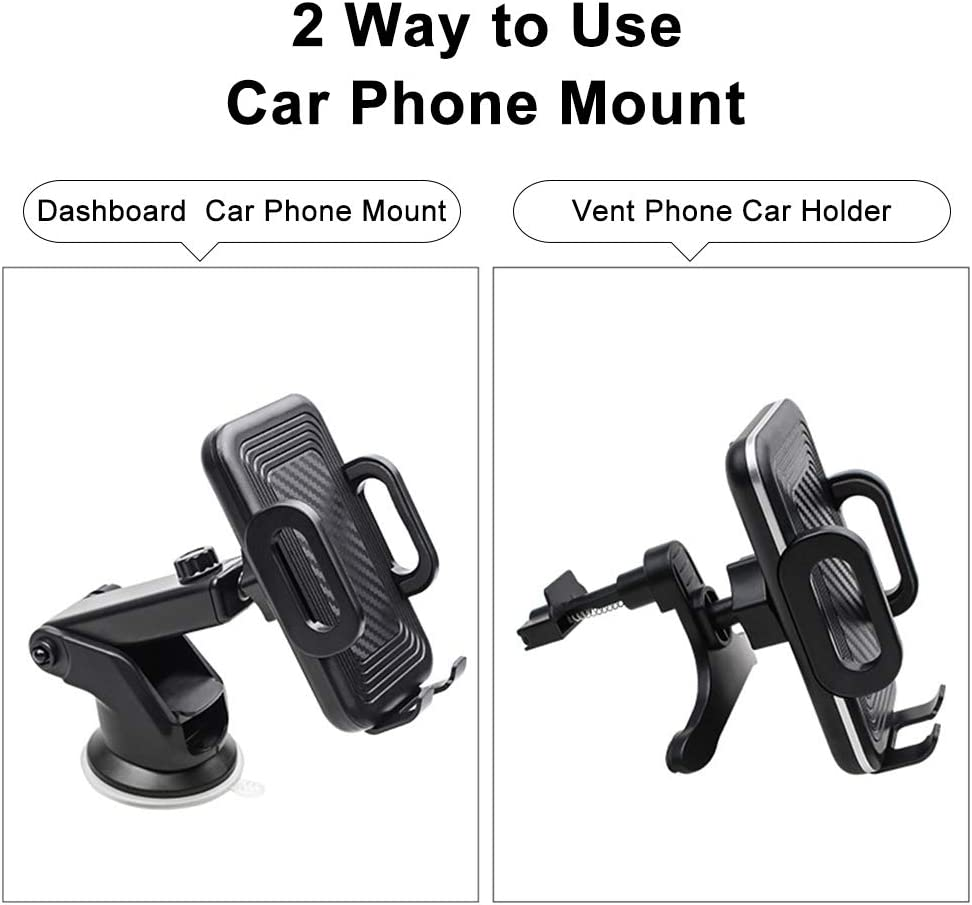 Karetto Car Phone Mount Cell Phone Holder Compatible with iPhone 11//11 Pro//Xs//XS Max 8//7 6 Samsung Galaxy S9+