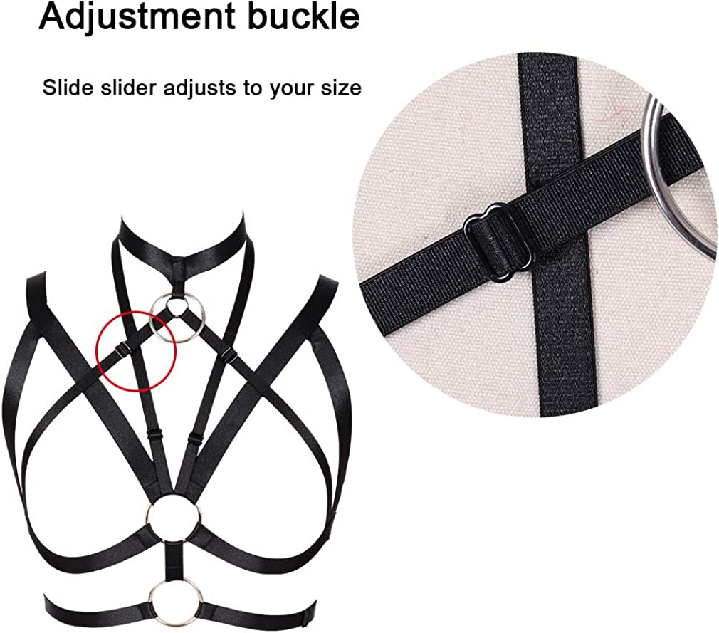 Womens Body Harness Bra Carnival Party Photography Dance Accessories Clothing Adjustable Punk Gothic Bra