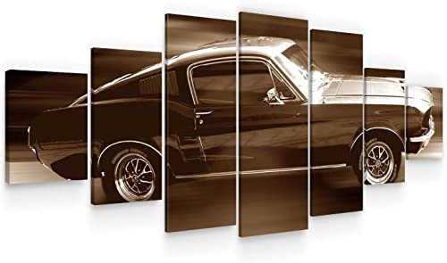 STARTONIGHT Huge Canvas Wall Art – Ford Mustang in Full Speed, Brown Auto Large Modern Framed Set of 7 40 x 95 Inches