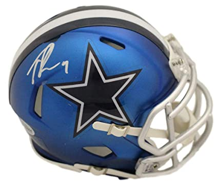 fb75f2aa5b7 Amazon.com: Tony Romo Autographed/Signed Dallas Cowboys Blaze Mini Helmet  BAS: Sports Collectibles