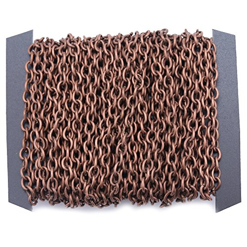 Iron Cross Charm - 32.8ft Length Cable Link Chain Iron Twisted Cross Chains for Necklace Bracelet Jewelry Accessories DIY Making Chain - Small 3x4mm (Red Copper)