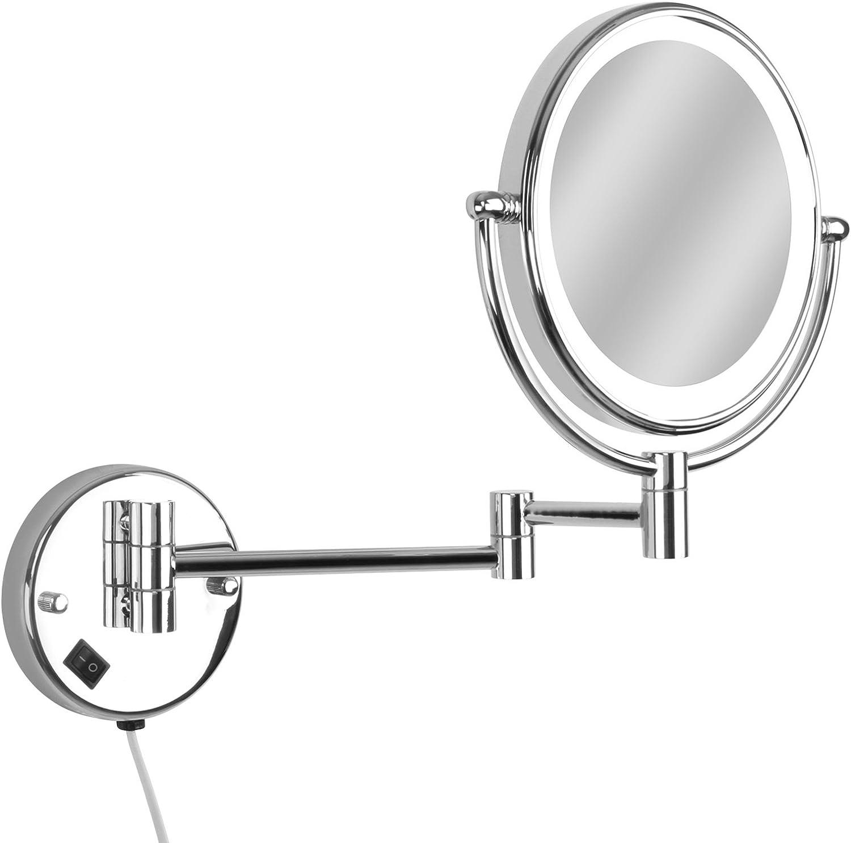 Braccio Girevole a 360 /° e Braccio Estensibile da 8 Pollici,A ZTM Specchio a Parete Specchio ingranditore da Bagno con ingrandimento 3X Specchio Girevole con Specchio ingranditore