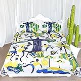 ARIGHTEX Cute Brazil Cultural Pattern Bedding Soccer Ball Bed Set Green Yellow Sports Team Dancing Duvet Cover Set (King)