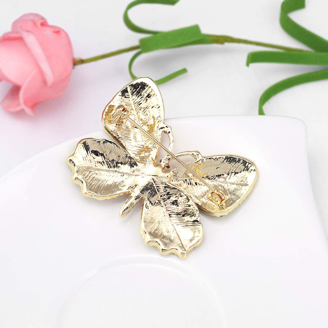 WeimanJewelry Lot6pcs Multicolor Rhinestone Crystal Butterfly Brooch Pin Set for Women by WeimanJewelry (Image #6)