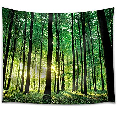 Green Forest with The Sunlight Peeking Through The Trees - Fabric Tapestry, Home Decor - 51x60 inches