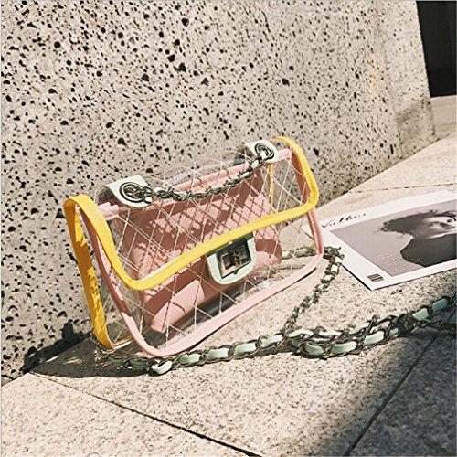 Handbag Messenger Clear Transparent Bag Chain Fashion Bag Waterproof Lattice White Beach Jelly Shoulder Eleusine wTx7Uw