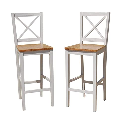 TMS 30 inch Virginia Cross Back Stools Set of 2 , White natural