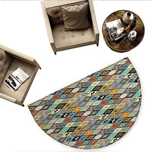 Tribal Half Round Door mats Ethnic Primitive Culture Composition with Different Motifs Elk and Bulls Folk Mosaic Bathroom Mat H 63