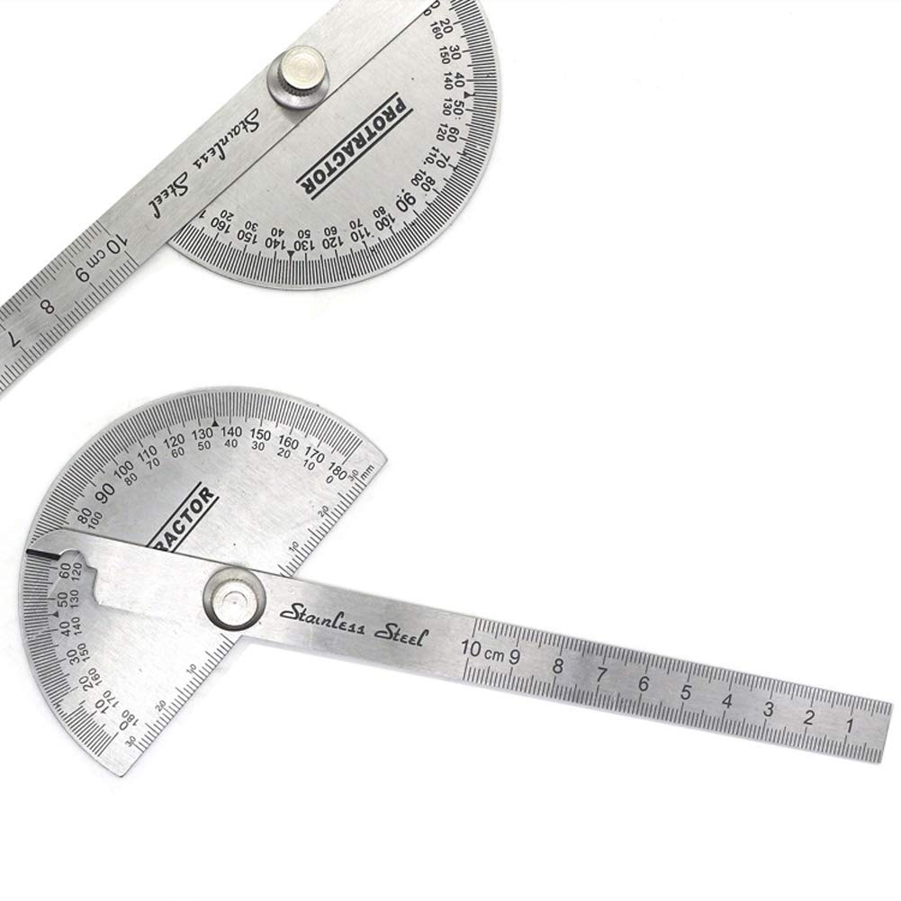JUNDA Stainless Steel 0-180 Degree 10CM Swing Arm Protractors,Angle Finder Craftsman Ruler Machinist Tool,Pack of 2 by JUNDA