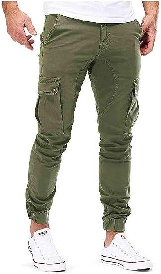 Candiyer 男性の純粋な色オーバーサイズポケットサイドポケット付きカーゴパンツ